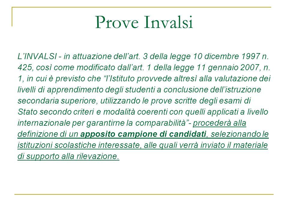 Prove Invalsi L'INVALSI - in attuazione dell'art. 3 della legge 10 dicembre 1997 n.
