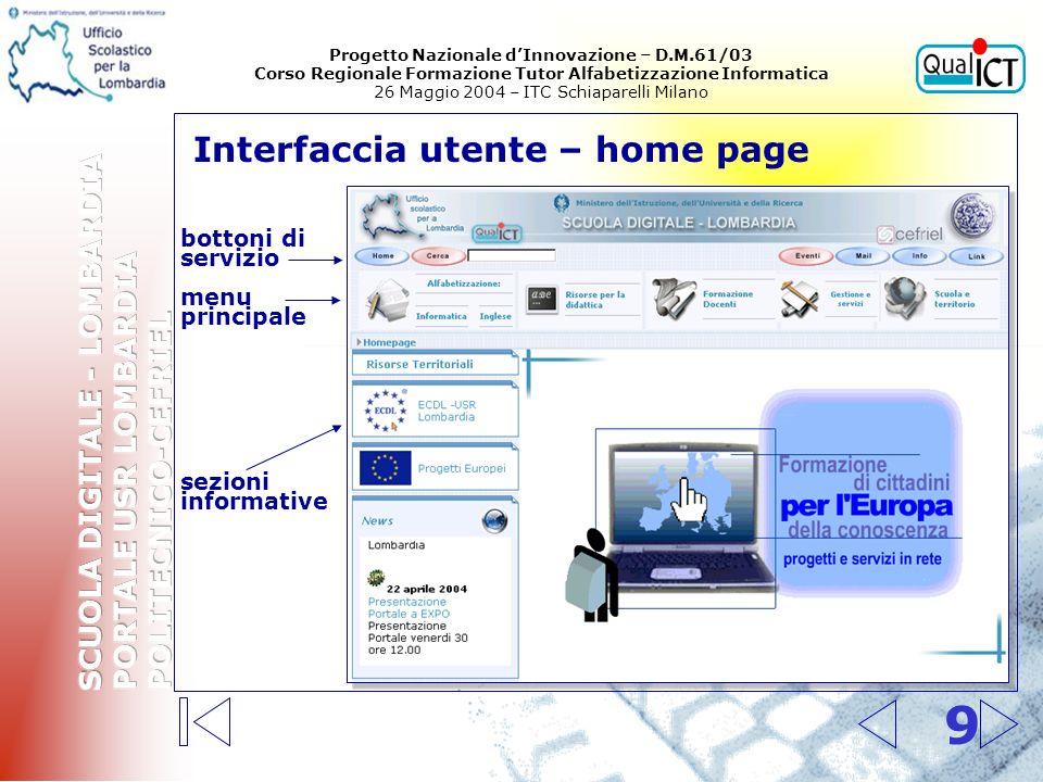 Ambiti, servizi, contenuti e collegamenti