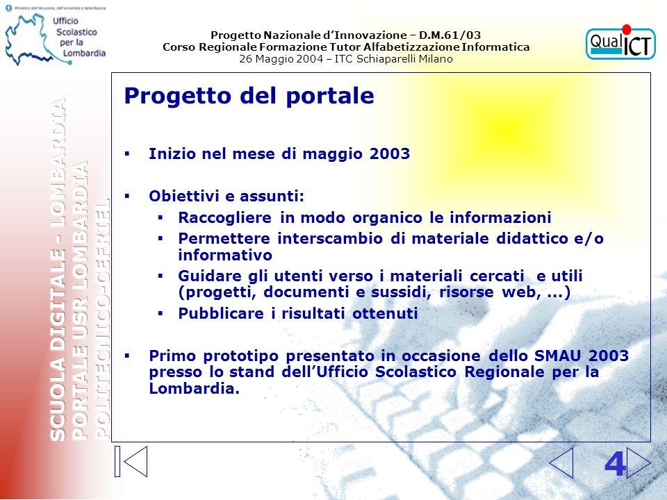 Contenuti e funzione del portale