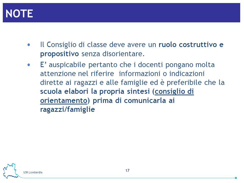 NOTE Il Consiglio di classe deve avere un ruolo costruttivo e propositivo senza disorientare.