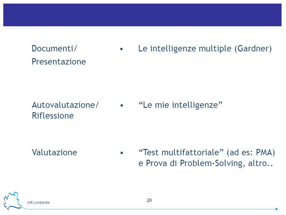 Documenti/ Presentazione. Le intelligenze multiple (Gardner) Autovalutazione/ Riflessione. Le mie intelligenze