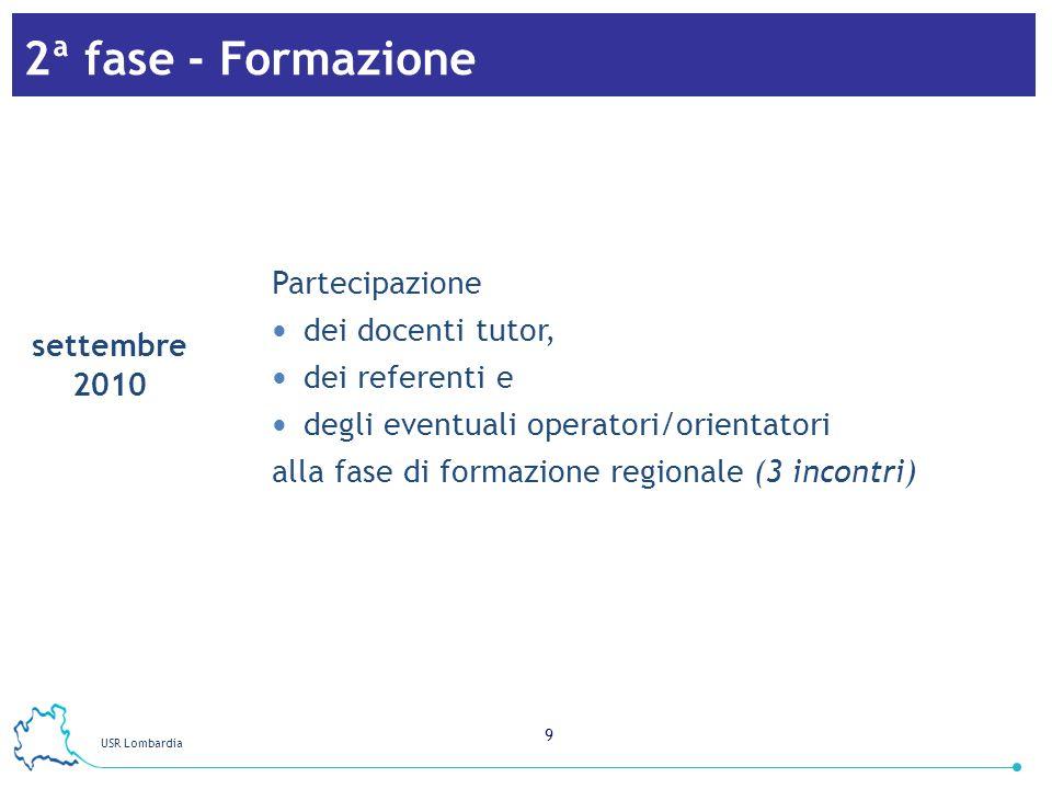 2ª fase - Formazione Partecipazione dei docenti tutor, dei referenti e