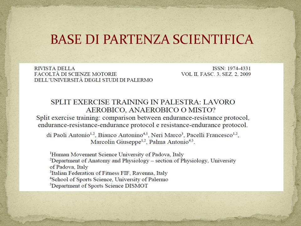 BASE DI PARTENZA SCIENTIFICA