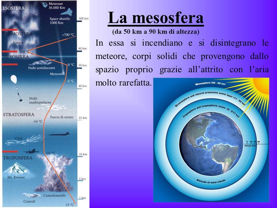 La mesosfera (da 50 km a 90 km di altezza)