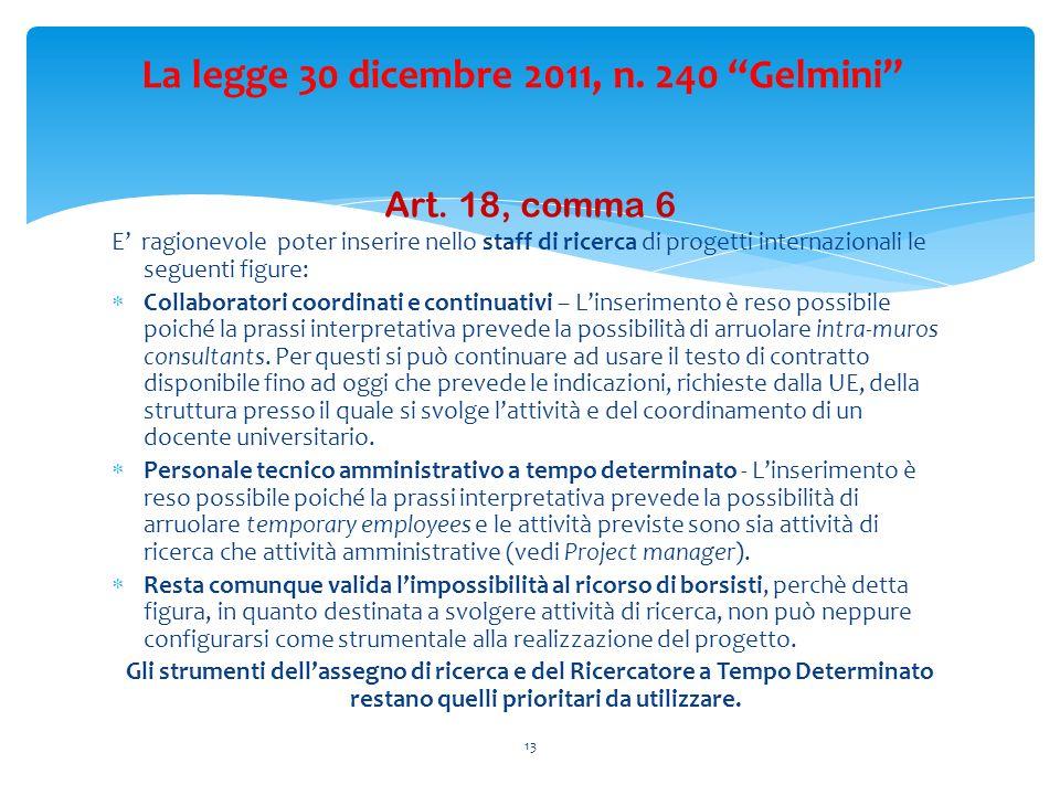 La legge 30 dicembre 2011, n. 240 Gelmini
