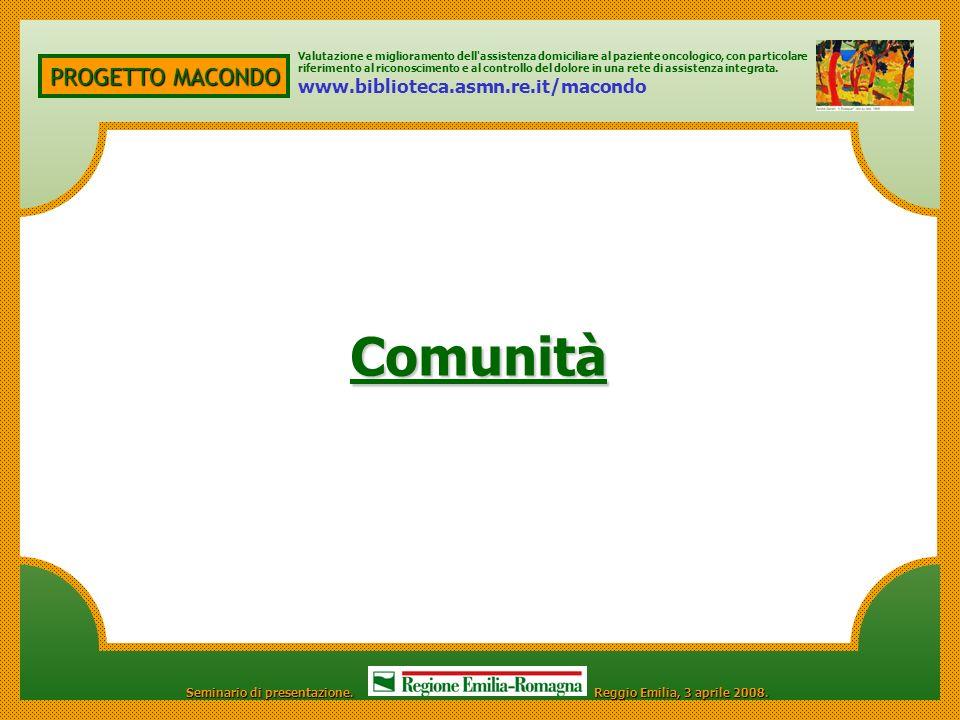 Comunità PROGETTO MACONDO www.biblioteca.asmn.re.it/macondo