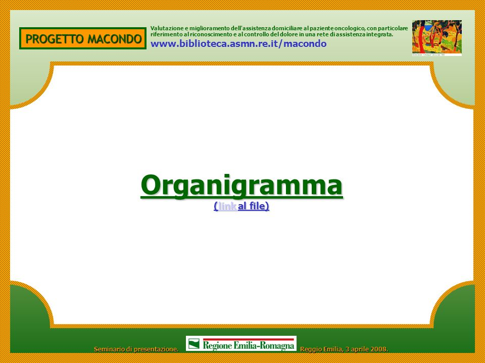 Organigramma PROGETTO MACONDO www.biblioteca.asmn.re.it/macondo