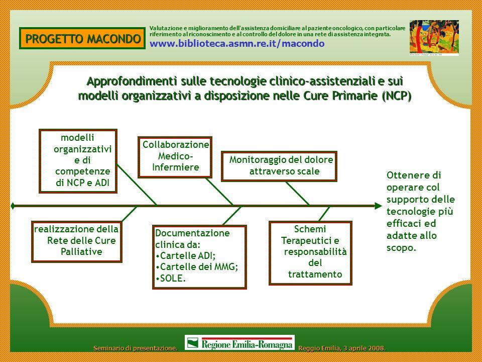 Valutazione e miglioramento dell assistenza domiciliare al paziente oncologico, con particolare riferimento al riconoscimento e al controllo del dolore in una rete di assistenza integrata.