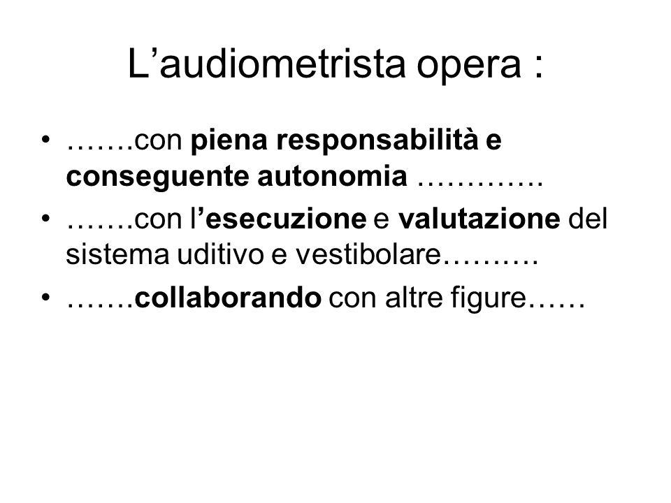 L'audiometrista opera :