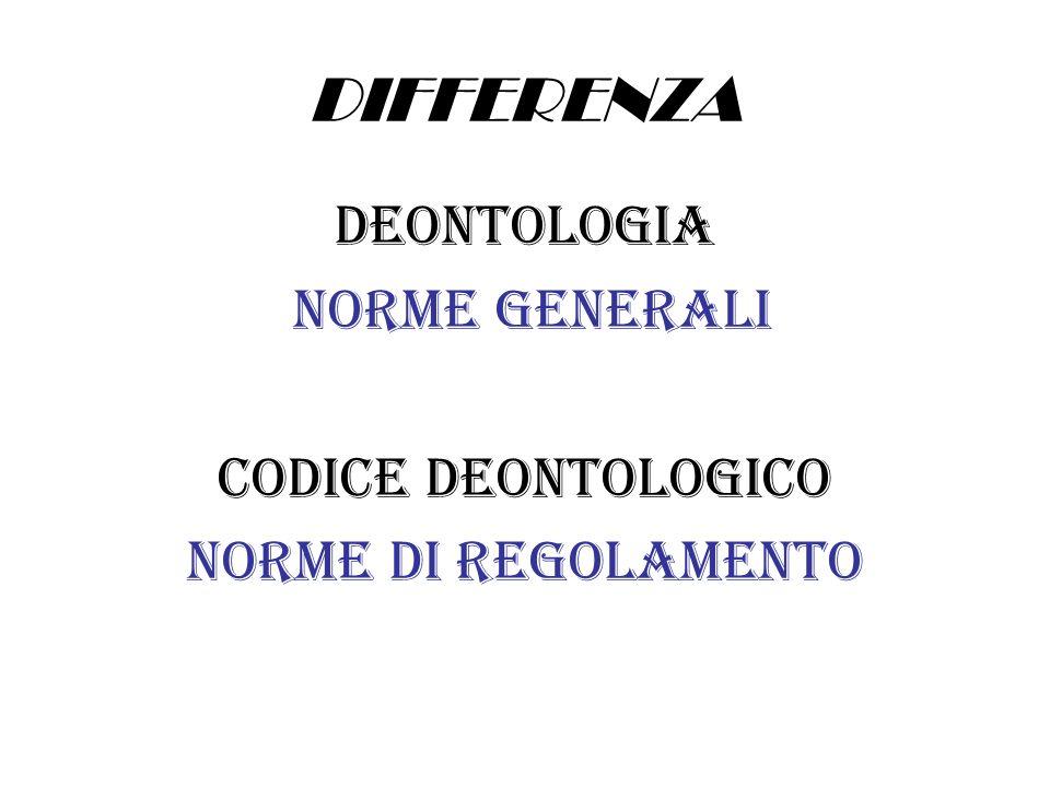 DIFFERENZA DEONTOLOGIA NORME GENERALI CODICE DEONTOLOGICO