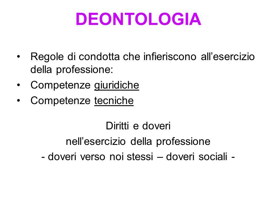 DEONTOLOGIA Regole di condotta che infieriscono all'esercizio della professione: Competenze giuridiche.