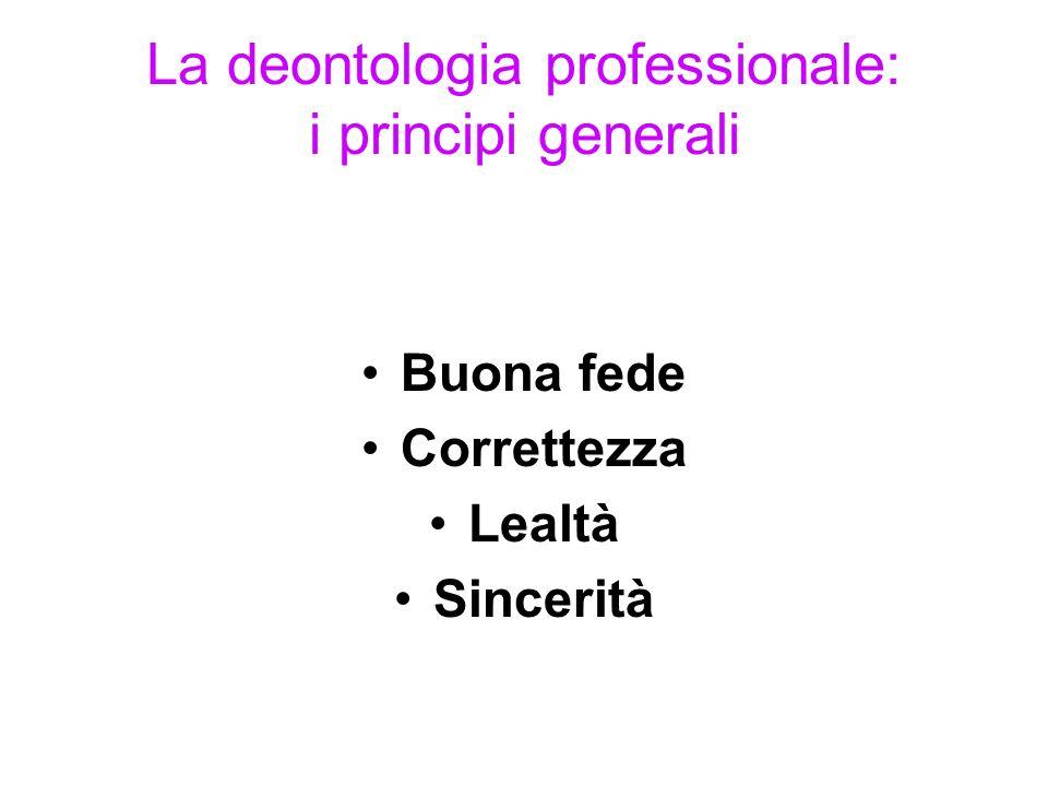 La deontologia professionale: i principi generali