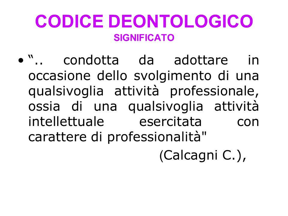 CODICE DEONTOLOGICO SIGNIFICATO