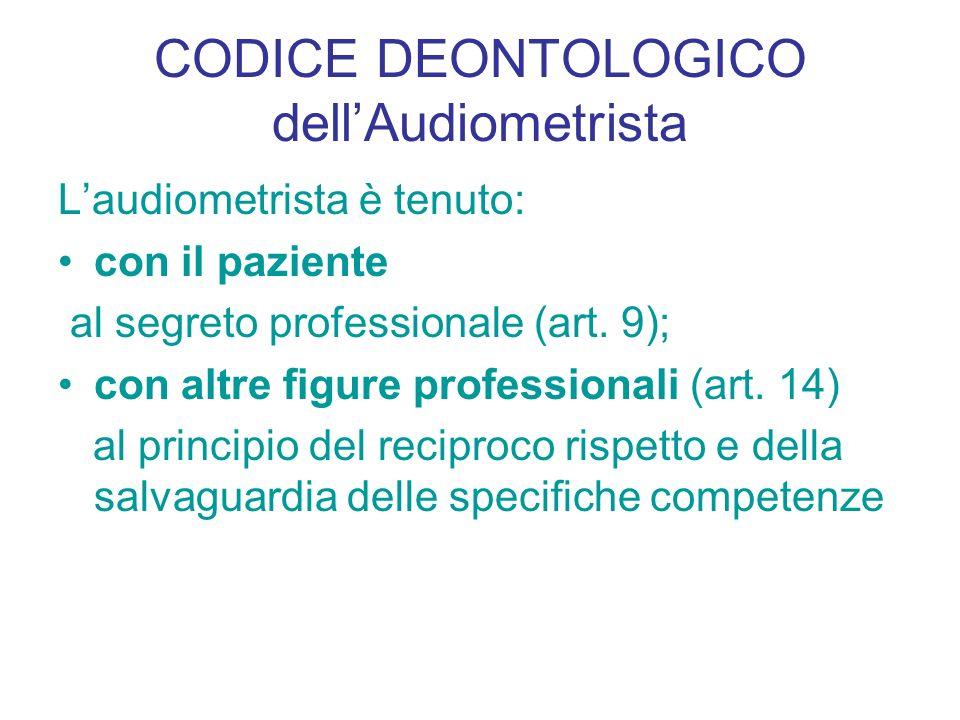 CODICE DEONTOLOGICO dell'Audiometrista