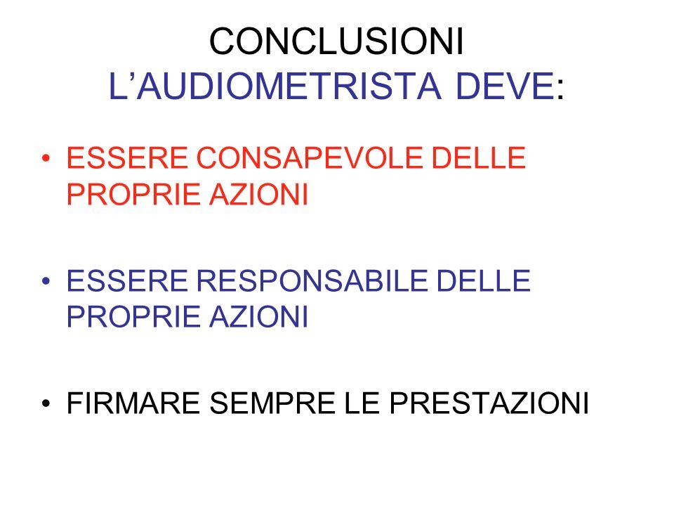CONCLUSIONI L'AUDIOMETRISTA DEVE: