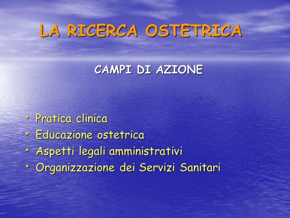 LA RICERCA OSTETRICA CAMPI DI AZIONE Pratica clinica
