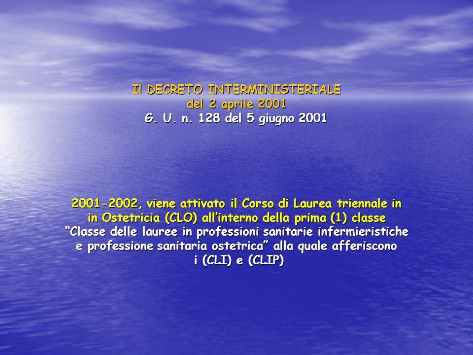 Il DECRETO INTERMINISTERIALE del 2 aprile 2001 G. U. n