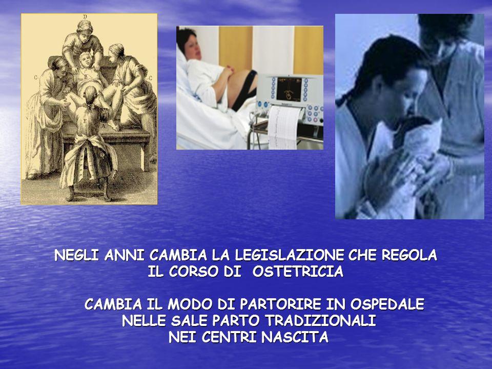 NEGLI ANNI CAMBIA LA LEGISLAZIONE CHE REGOLA IL CORSO DI OSTETRICIA