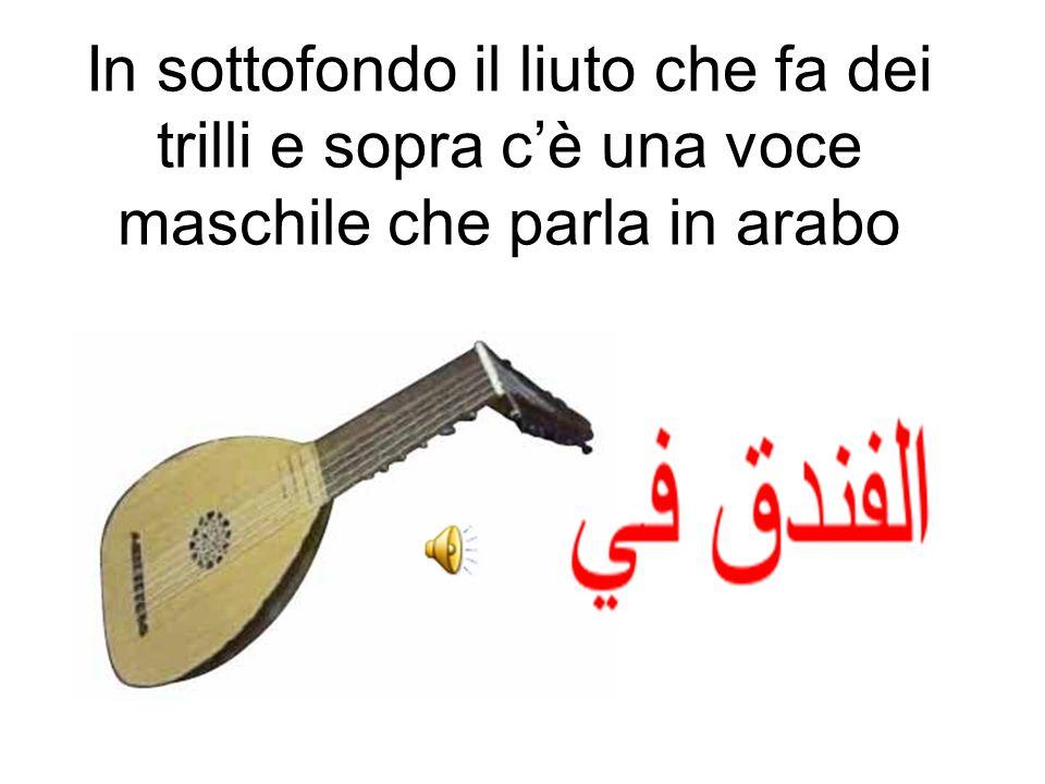 In sottofondo il liuto che fa dei trilli e sopra c'è una voce maschile che parla in arabo