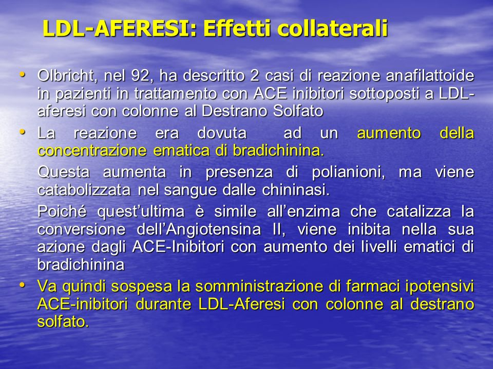 LDL-AFERESI: Effetti collaterali