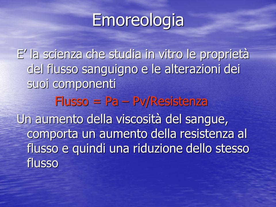Emoreologia E' la scienza che studia in vitro le proprietà del flusso sanguigno e le alterazioni dei suoi componenti.