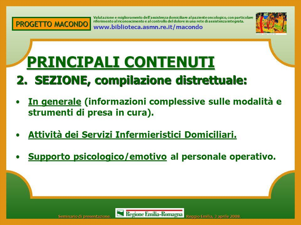 PRINCIPALI CONTENUTI 2. SEZIONE, compilazione distrettuale: