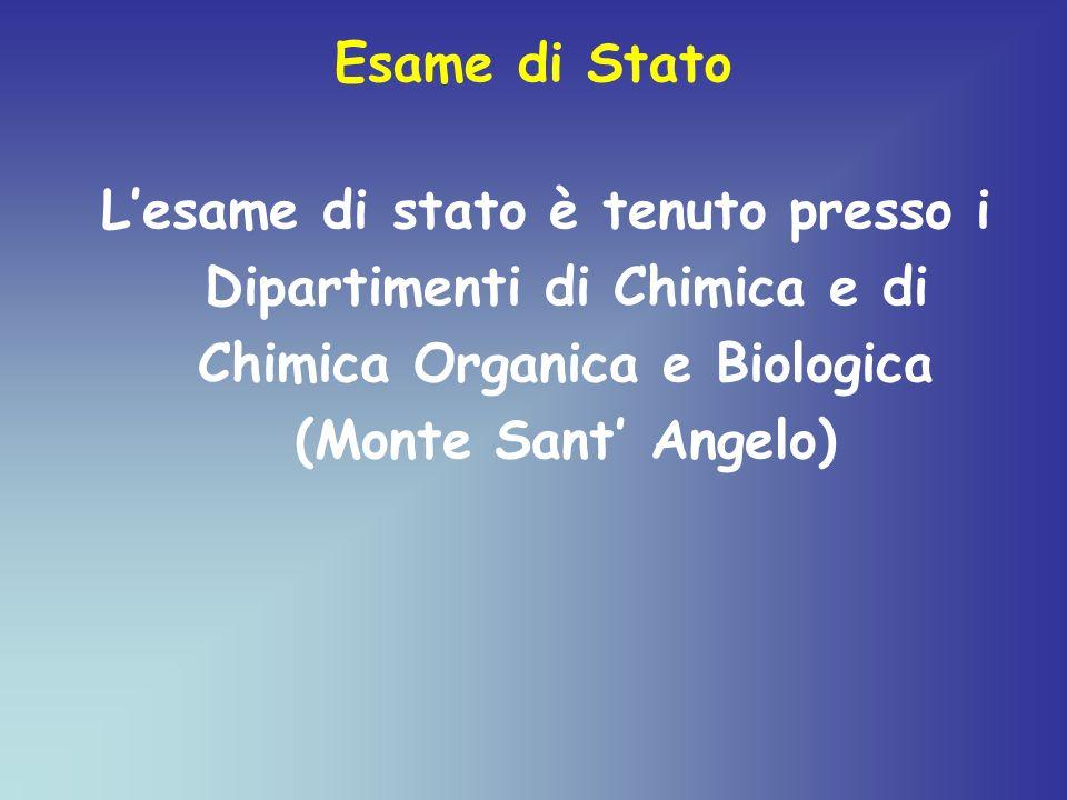 Esame di Stato L'esame di stato è tenuto presso i Dipartimenti di Chimica e di Chimica Organica e Biologica (Monte Sant' Angelo)