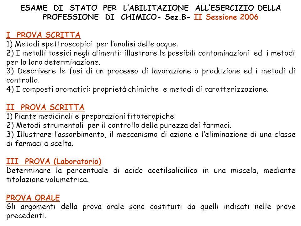 ESAME DI STATO PER L'ABILITAZIONE ALL'ESERCIZIO DELLA