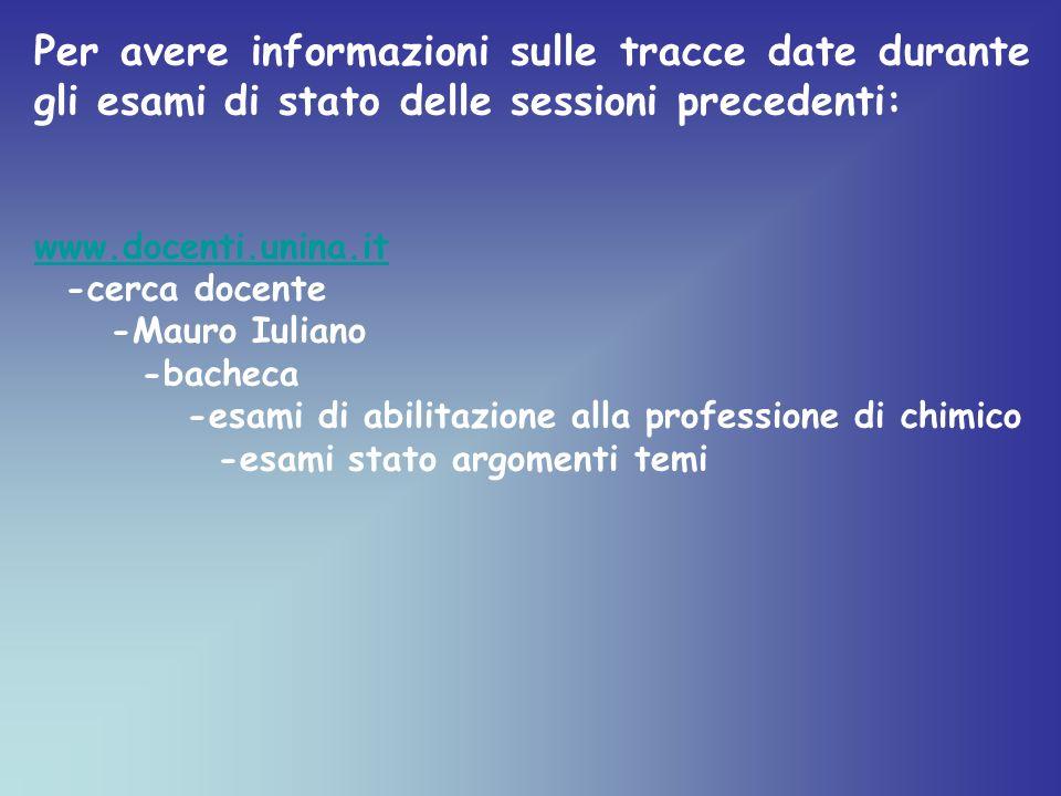 Per avere informazioni sulle tracce date durante gli esami di stato delle sessioni precedenti: