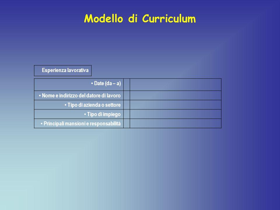 Modello di Curriculum Esperienza lavorativa • Date (da – a)