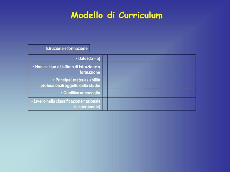 Modello di Curriculum Istruzione e formazione • Date (da – a)