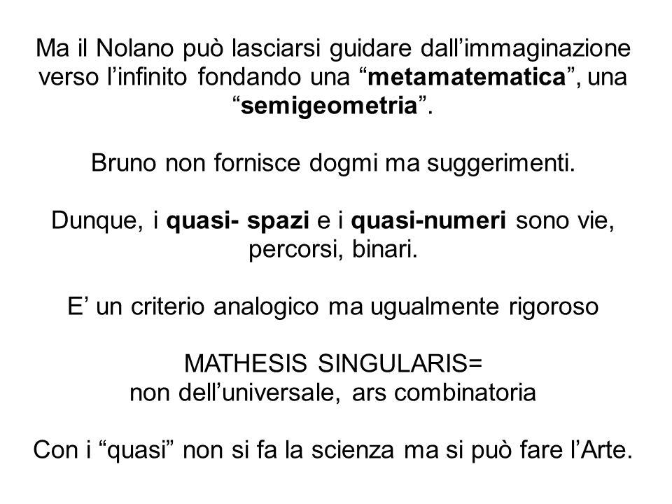 Bruno non fornisce dogmi ma suggerimenti.