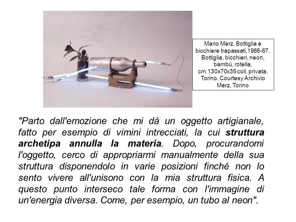 Mario Merz, Bottiglia e bicchiere trapassati,1966-67
