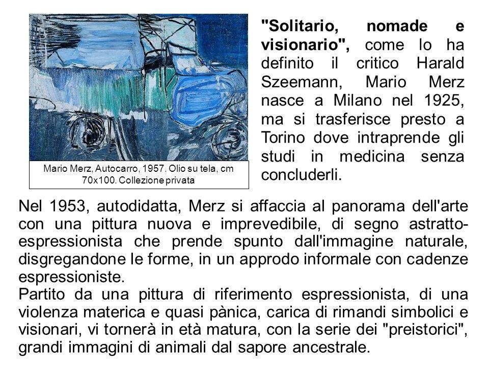 Solitario, nomade e visionario , come lo ha definito il critico Harald Szeemann, Mario Merz nasce a Milano nel 1925, ma si trasferisce presto a Torino dove intraprende gli studi in medicina senza concluderli.