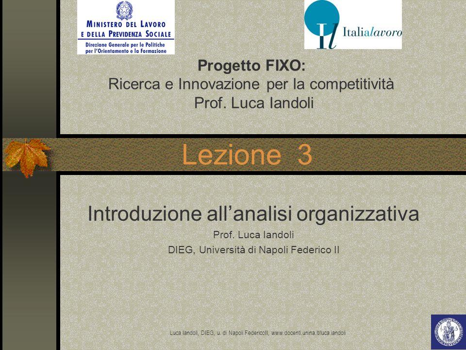 Lezione 3 Introduzione all'analisi organizzativa Progetto FIXO: