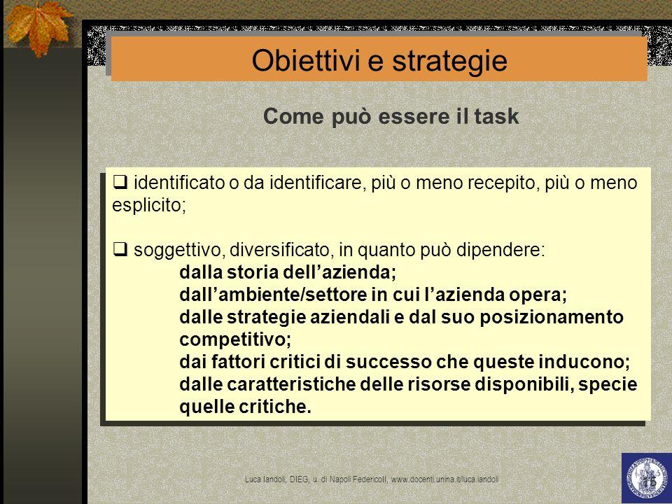 Obiettivi e strategie Come può essere il task