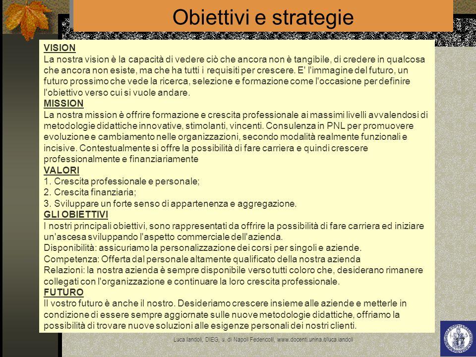 Obiettivi e strategie VISION