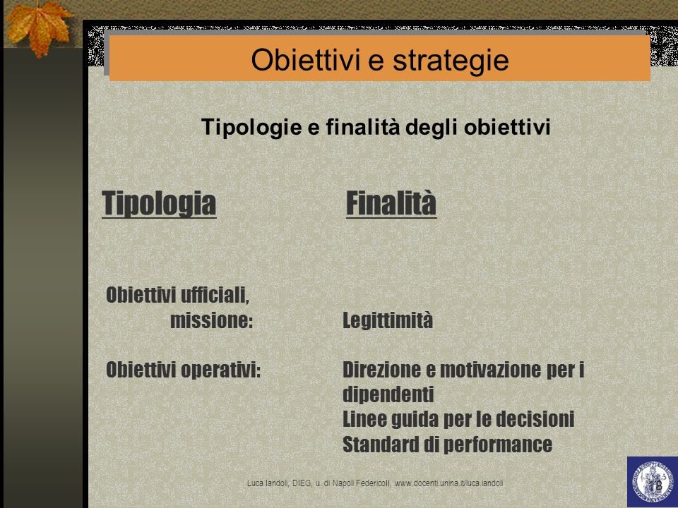 Tipologie e finalità degli obiettivi