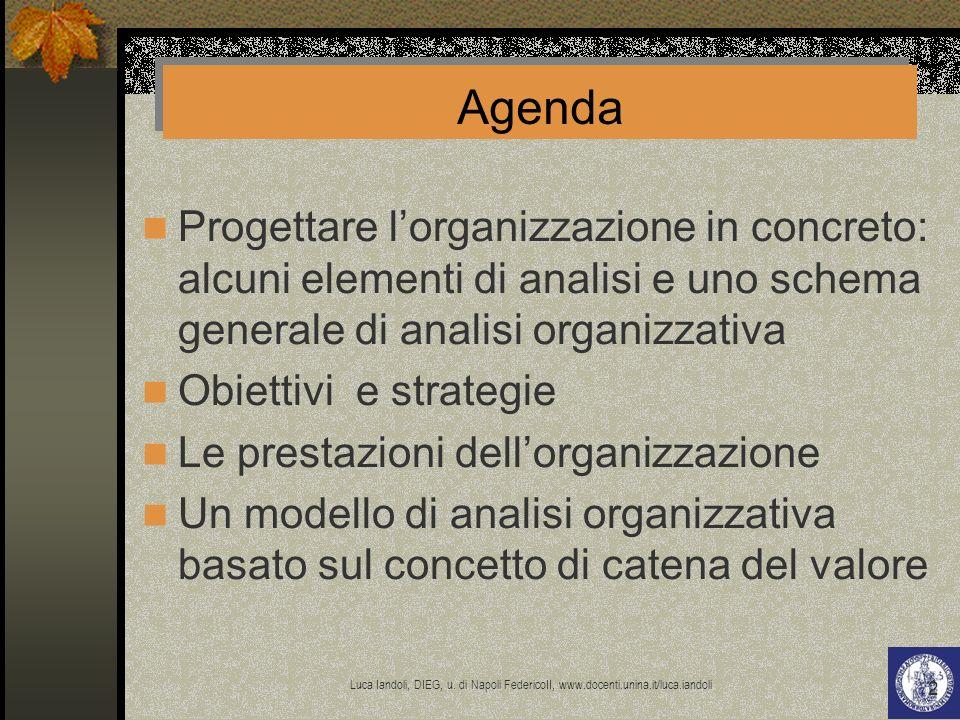 Agenda Progettare l'organizzazione in concreto: alcuni elementi di analisi e uno schema generale di analisi organizzativa.