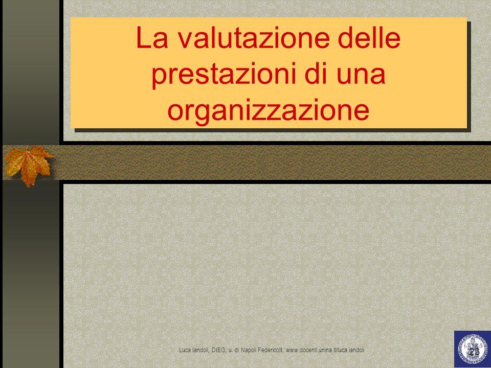 La valutazione delle prestazioni di una organizzazione