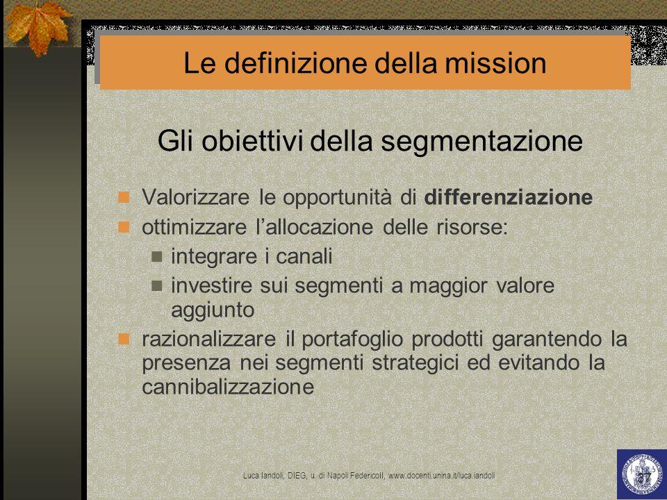 Gli obiettivi della segmentazione