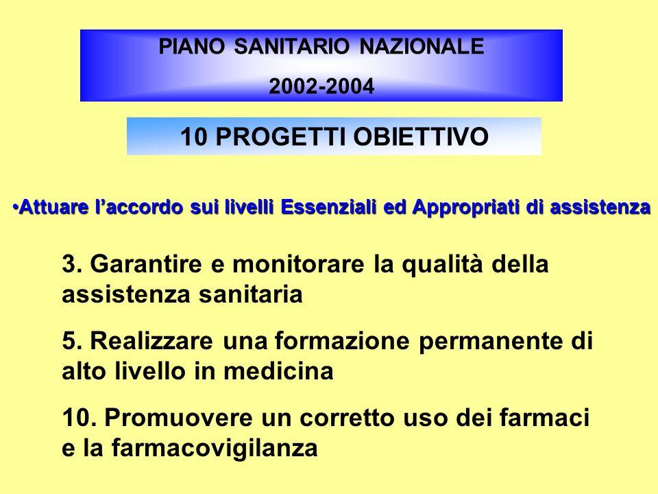 3. Garantire e monitorare la qualità della assistenza sanitaria