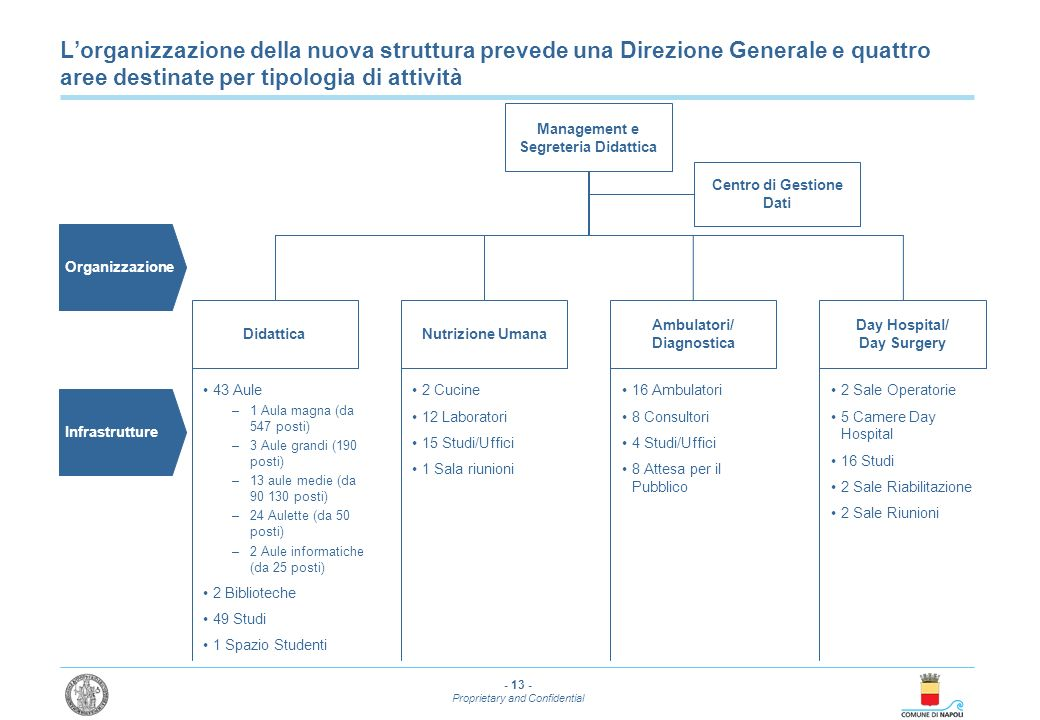 L'organizzazione della nuova struttura prevede una Direzione Generale e quattro aree destinate per tipologia di attività