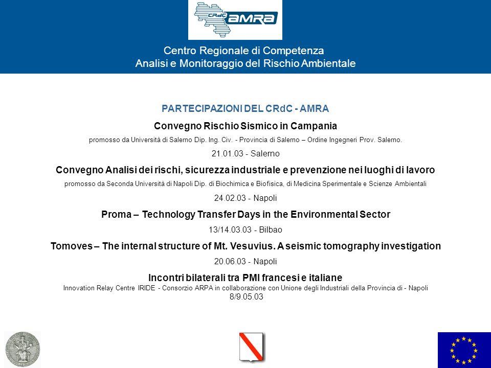PARTECIPAZIONI DEL CRdC - AMRA Convegno Rischio Sismico in Campania
