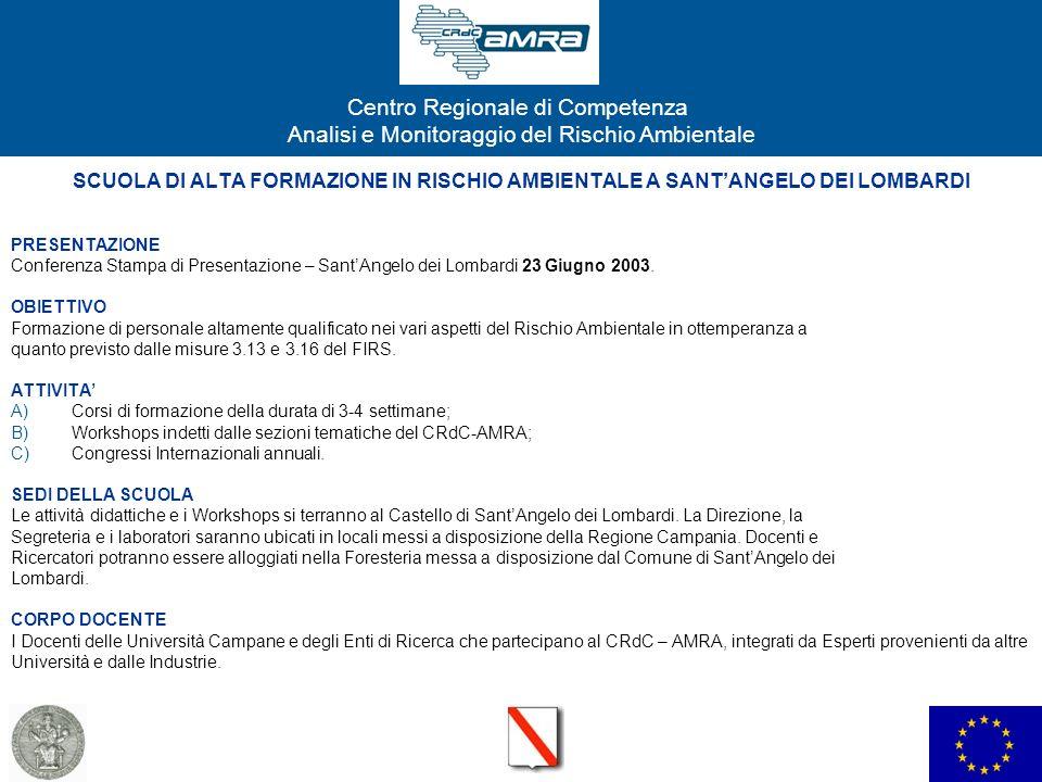 SCUOLA DI ALTA FORMAZIONE IN RISCHIO AMBIENTALE A SANT'ANGELO DEI LOMBARDI