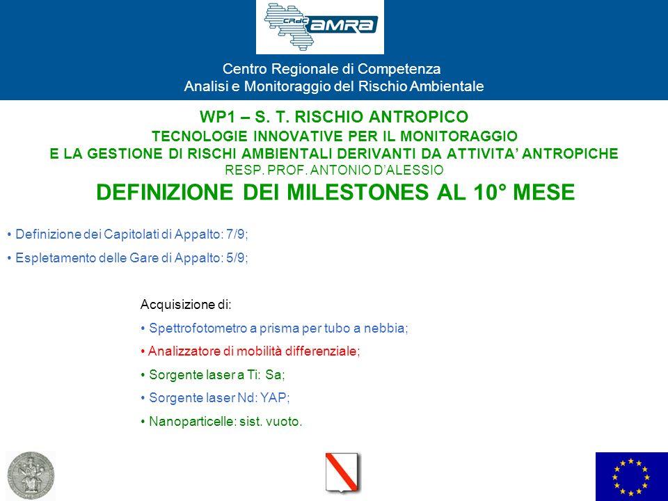 WP1 – S. T. RISCHIO ANTROPICO TECNOLOGIE INNOVATIVE PER IL MONITORAGGIO E LA GESTIONE DI RISCHI AMBIENTALI DERIVANTI DA ATTIVITA' ANTROPICHE RESP. PROF. ANTONIO D'ALESSIO DEFINIZIONE DEI MILESTONES AL 10° MESE