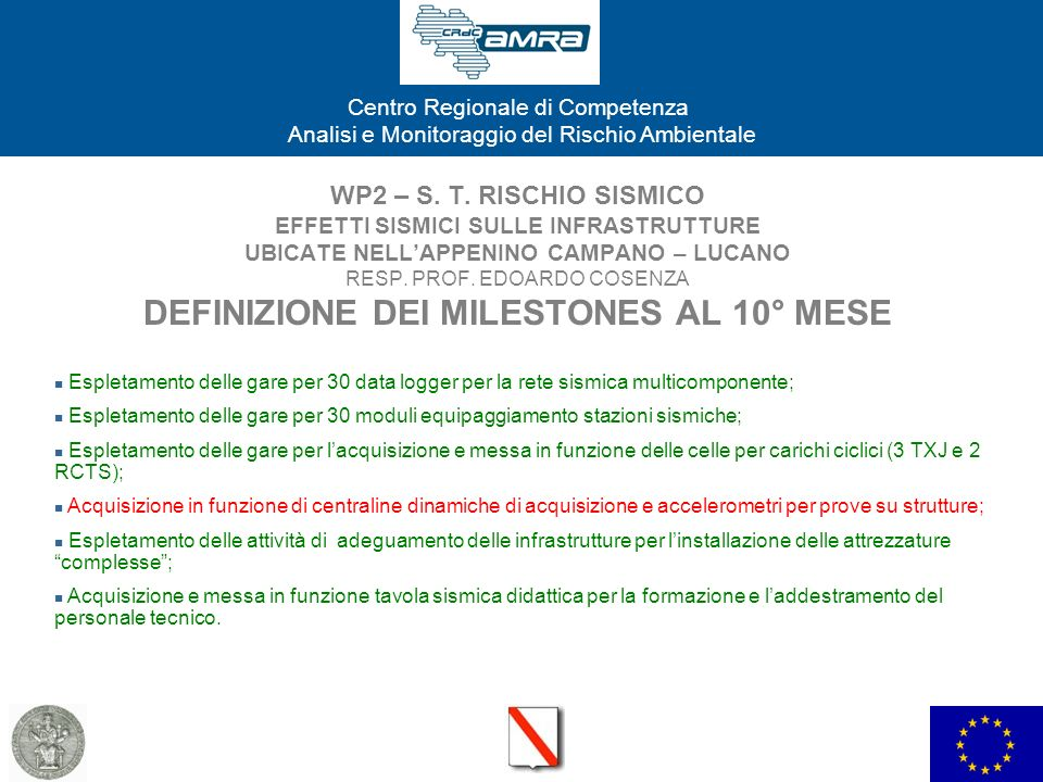 WP2 – S. T. RISCHIO SISMICO EFFETTI SISMICI SULLE INFRASTRUTTURE UBICATE NELL'APPENINO CAMPANO – LUCANO RESP. PROF. EDOARDO COSENZA DEFINIZIONE DEI MILESTONES AL 10° MESE