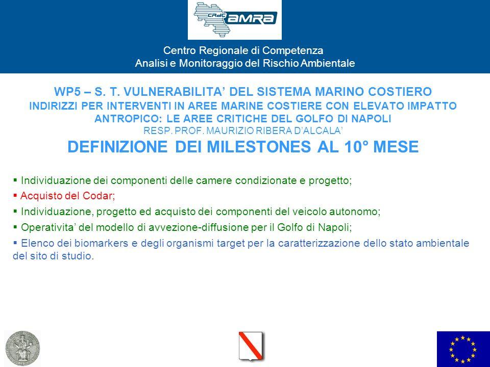 WP5 – S. T. VULNERABILITA' DEL SISTEMA MARINO COSTIERO INDIRIZZI PER INTERVENTI IN AREE MARINE COSTIERE CON ELEVATO IMPATTO ANTROPICO: LE AREE CRITICHE DEL GOLFO DI NAPOLI RESP. PROF. MAURIZIO RIBERA D'ALCALA' DEFINIZIONE DEI MILESTONES AL 10° MESE