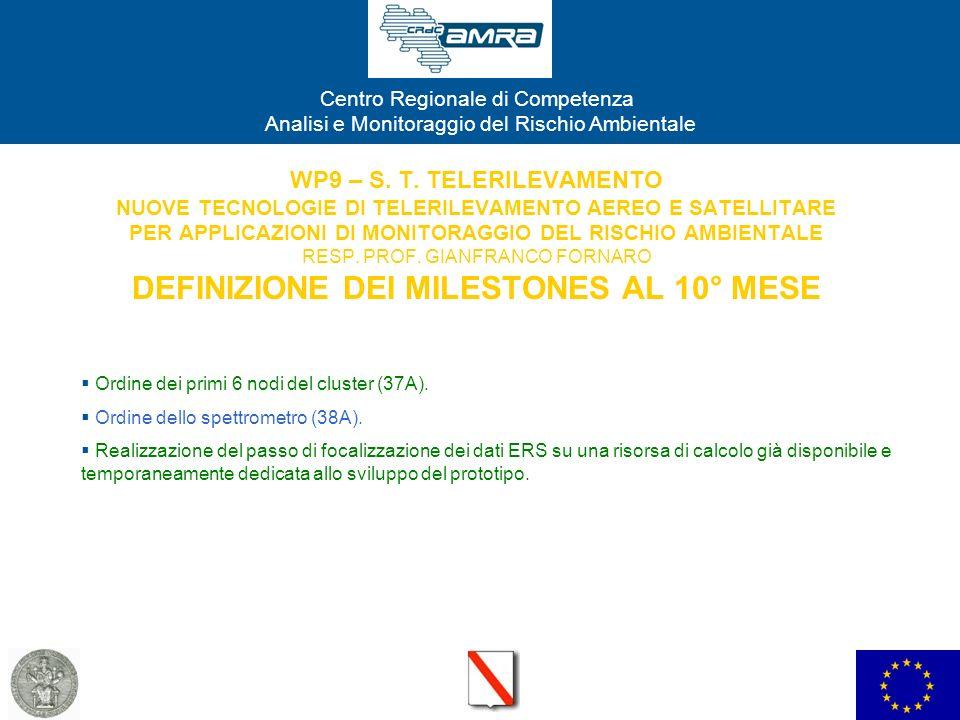 WP9 – S. T. TELERILEVAMENTO NUOVE TECNOLOGIE DI TELERILEVAMENTO AEREO E SATELLITARE PER APPLICAZIONI DI MONITORAGGIO DEL RISCHIO AMBIENTALE RESP. PROF. GIANFRANCO FORNARO DEFINIZIONE DEI MILESTONES AL 10° MESE