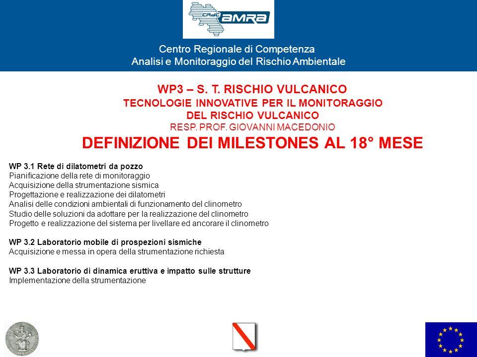 WP3 – S. T. RISCHIO VULCANICO TECNOLOGIE INNOVATIVE PER IL MONITORAGGIO DEL RISCHIO VULCANICO RESP. PROF. GIOVANNI MACEDONIO DEFINIZIONE DEI MILESTONES AL 18° MESE